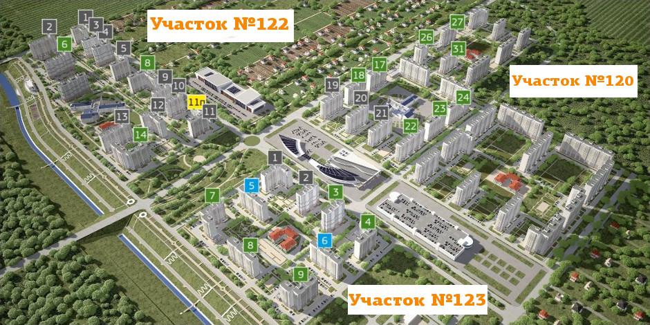 Схема районов и участков ЖК Суворовского