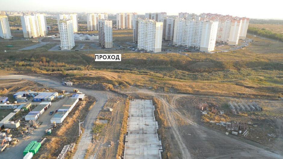 Проход через овраг в ЖК Суворовском