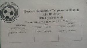 Расписание футбольных тренировок в Суворовском