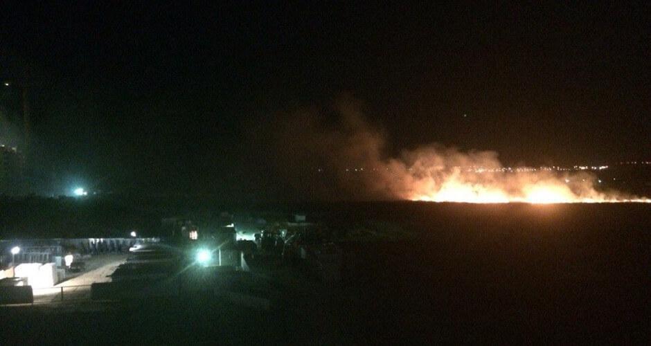 Ночной пожар полей в Суворовском