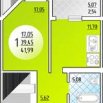 Схема однокомнатной квартиры ЖК Платовского