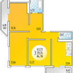Схема трехкомнатной квартиры ЖК Платовского