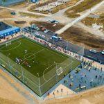 Вид на новое футбольное поле.