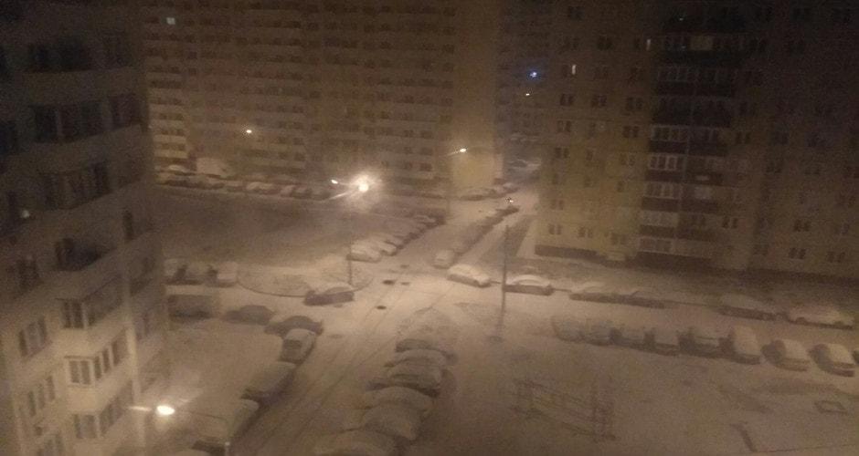 Военный городок в снегу