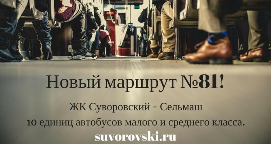 Новый автобусный маршрут №81 в ЖК Суворовском