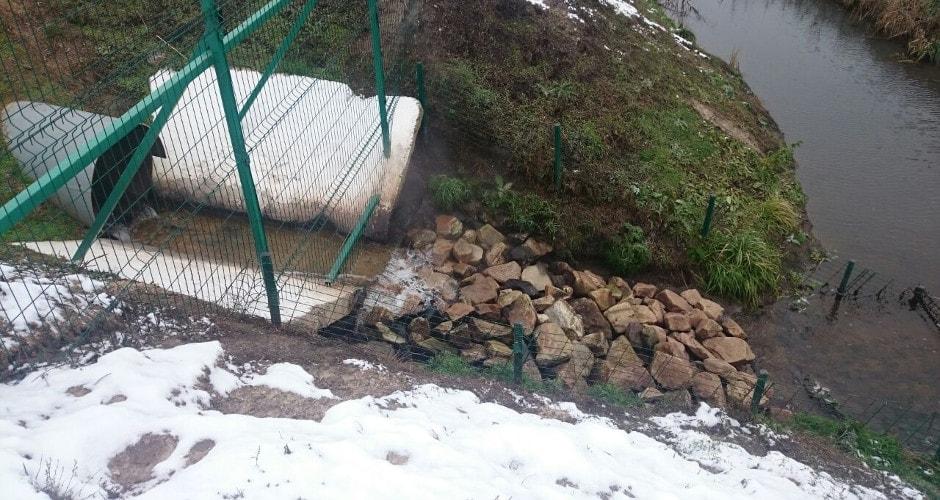 Выпуск очищенных вод из очистных ЖК Суворовского