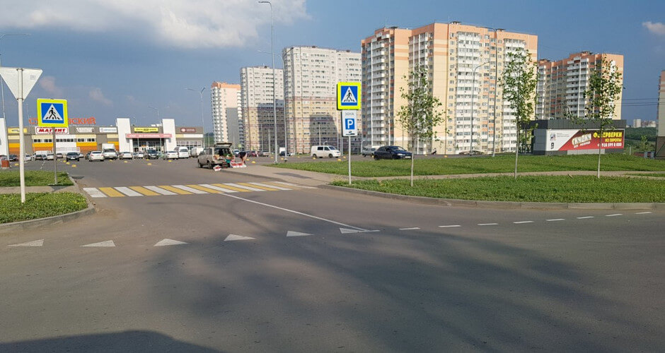 Новая дорожная разметка в ЖК Суворовском. Вид 2.