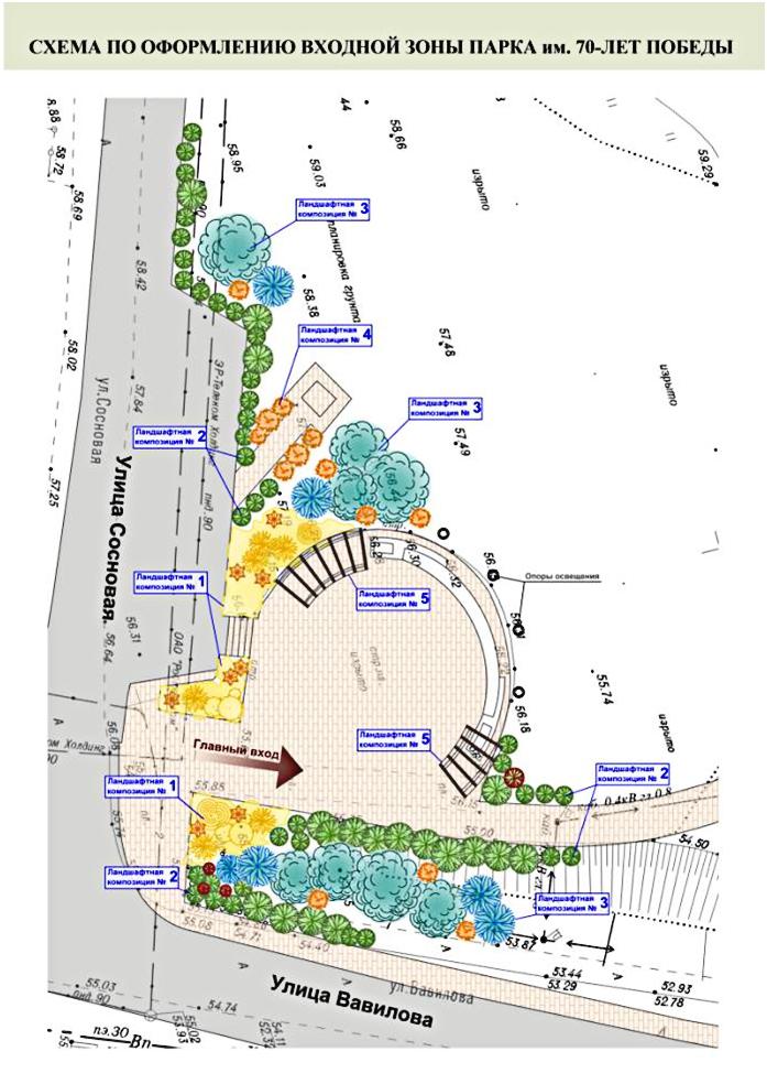 Схема входной зоны парка ЖК Суворовский