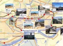 Карта маршрута городской электрички в городе Ростов-на-Дону