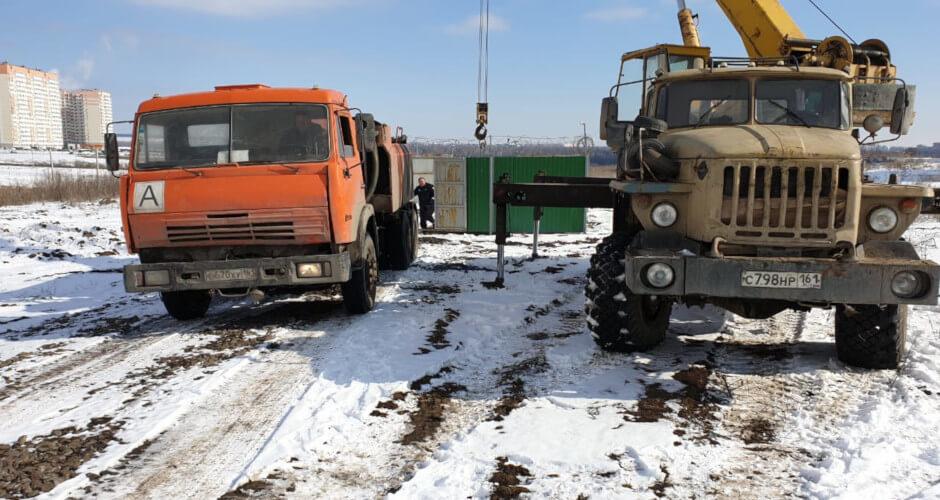 Краны чистят канализацию ЖК Суворовский