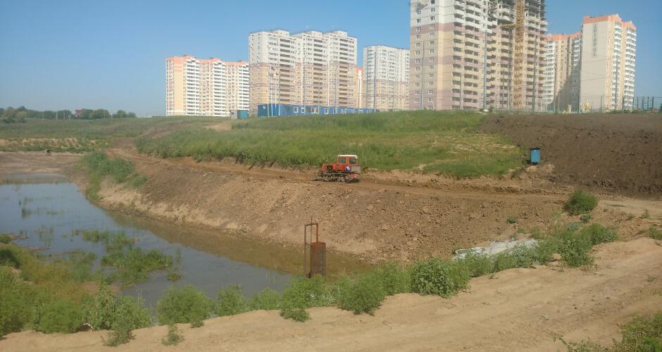 Урепление берегов балки Чадр в ЖК Суворовский. Вид 2.