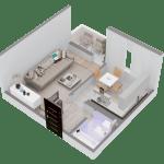 Схема 1-комнатной квартиры в ЖК Суворовский