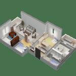 Схема 3-комнатной квартиры в ЖК Суворовский