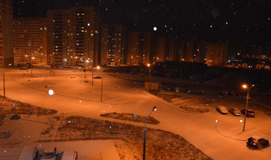Ночной снегопад в ЖК Суворовском